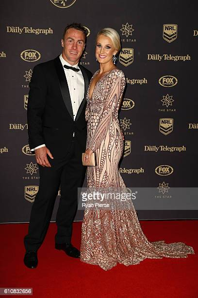 James Maloney of the Cronulla Sharks and wife Jessica Maloney arrive at the 2016 Dally M Awards at Star City on September 28 2016 in Sydney Australia