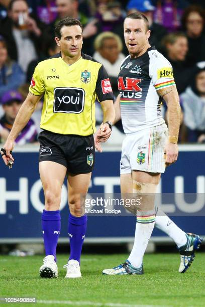 James Maloney of the Panthers argues with the referee after Josh Mansour of the Panthers was sent off for performing a professional foul on Justin...