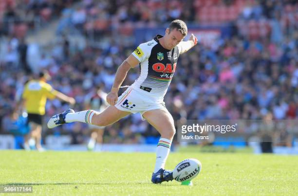 James Maloney of the Panthers converts a try during the round six NRL match between the Penrith Panthers and the Gold Coast Titans on April 15 2018...