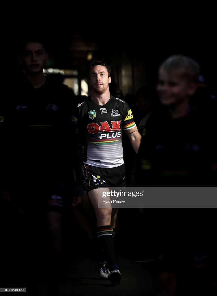 James Maloney of the Panthers leads his team out during the round 21 NRL match between the Penrith Panthers and the Canberra Raiders at Panthers Stadium on August 5, 2018 in Penrith, Australia.