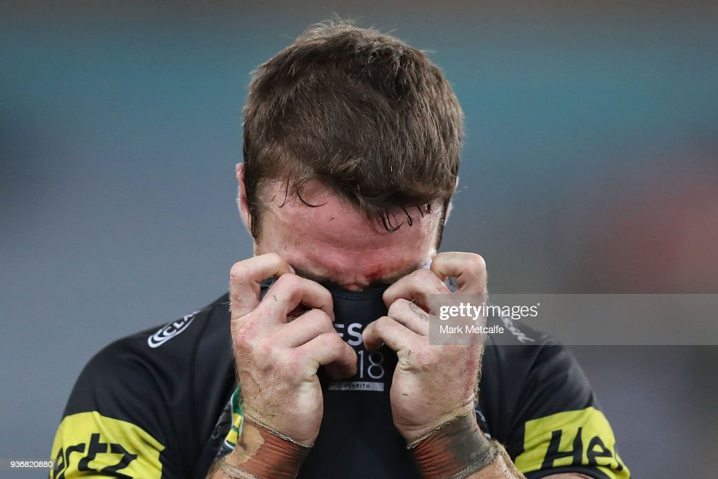 James Maloney of the Panthers looks dejected after defeat in the round three NRL match between the Bulldogs and the Panthers at ANZ Stadium on March 23, 2018 in Sydney, Australia.