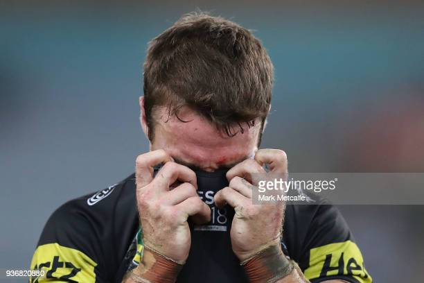 James Maloney of the Panthers looks dejected after defeat in the round three NRL match between the Bulldogs and the Panthers at ANZ Stadium on March...