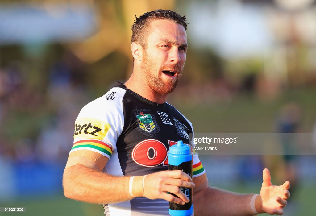 James Maloney of the Panthers looks on during the warm up before the NRL trial match between the Penrith Panthers and the Sydney Roosters at Penrith Stadium on February 17, 2018 in Sydney, Australia.