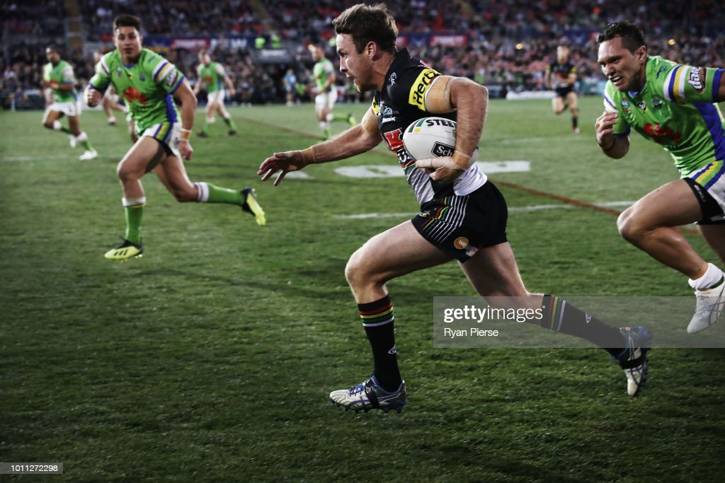 James Maloney of the Panthers makes a break during the round 21 NRL match between the Penrith Panthers and the Canberra Raiders at Panthers Stadium on August 5, 2018 in Penrith, Australia.