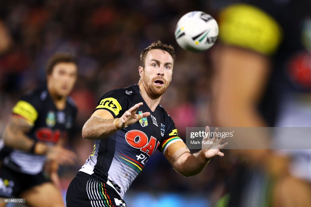 James Maloney of the Panthers prepares to catch the ball during the NRL round eight match between the Penrith Panthers and Canterbury Bulldogs on April 27, 2018 in Penrith, Australia.