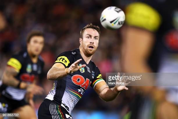 James Maloney of the Panthers prepares to catch the ball during the NRL round eight match between the Penrith Panthers and Canterbury Bulldogs on...