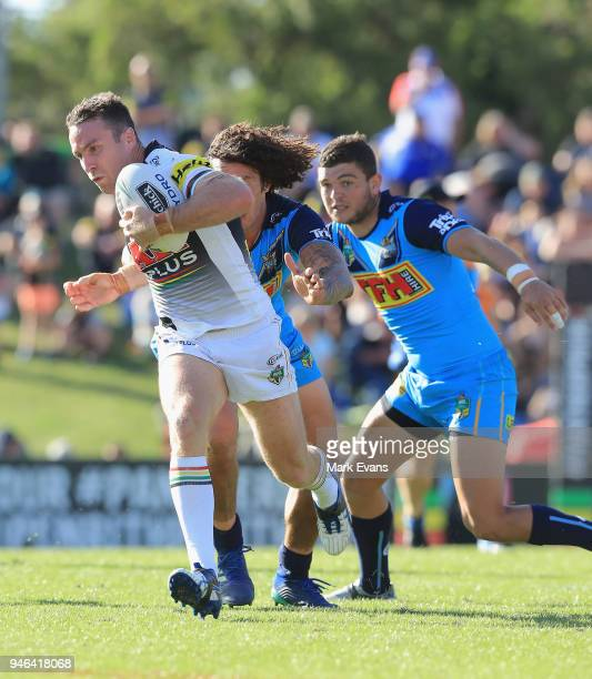 James Maloney of the Panthers runs the ball during the round six NRL match between the Penrith Panthers and the Gold Coast Titans on April 15 2018 in...