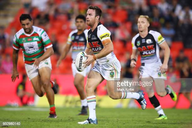 James Maloney of the Panthers runs the ball during the round two NRL match between the Penrith Panthers and the South Sydney Rabbitohs at Penrith...