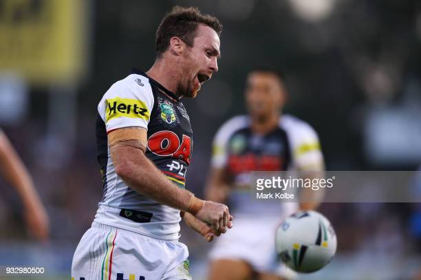 James Maloney of the Panthers shows his frustration during the round two NRL match between the Penrith Panthers and the South Sydney Rabbitohs at...