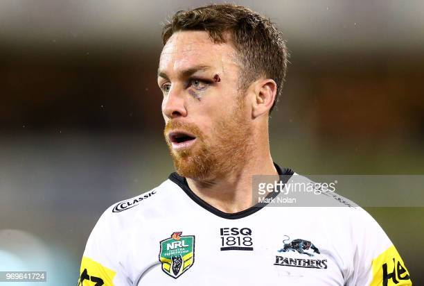 James Maloney of the Panthers watches on during the round 14 NRL match between the Canberra Raiders and the Penrith Panthers at GIO Stadium on June 8...