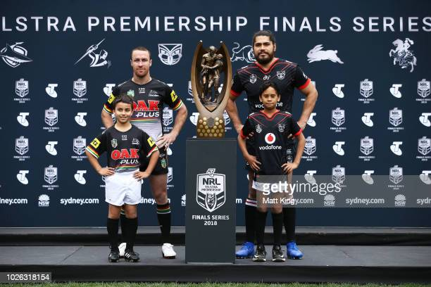 James Maloney of the Penrith Panthers and Tohu Harris of the New Zealand Warriors pose during the 2018 NRL Finals Series Launch at Allianz Stadium on...