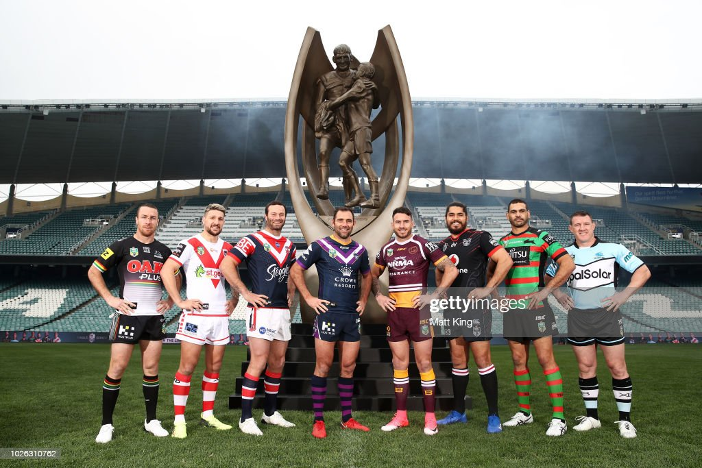 James Maloney of the Penrith Panthers, Gareth Widdop of the St George Illawarra Dragons, Boyd Cordner of the Sydney Roosters, Cameron Smith of the Melbourne Storm, Darius Boyd of the Brisbane Broncos, Tohu Harris of the New Zealand Warriors, Greg Inglis of the South Sydney Rabbitohs and Paul Gallen of the Cronulla Sharks pose during the 2018 NRL Finals Series Launch at Allianz Stadium on September 3, 2018 in Sydney, Australia.