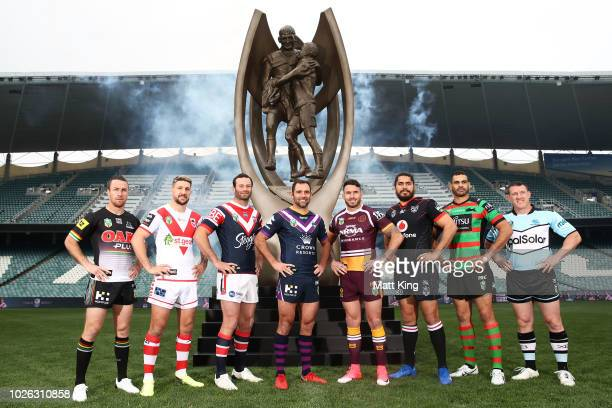 James Maloney of the Penrith Panthers Gareth Widdop of the St George Illawarra Dragons Boyd Cordner of the Sydney Roosters Cameron Smith of the...