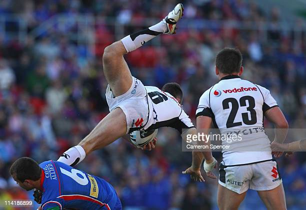 James Maloney of the Warriors takes a high ball during the round 10 NRL match between the Newcastle Knights and the Warriors at Ausgrid Stadium on...