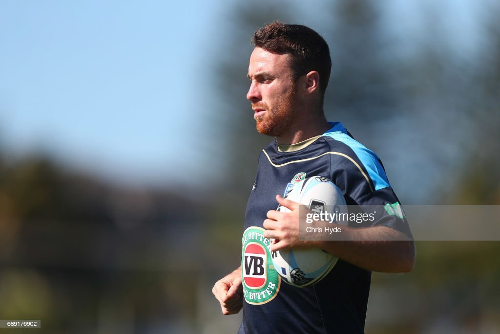 James Maloney runs the ball during a New South Wales Blues Origin training session at Cudgen Leagues Club on May 28, 2017 in Kingscliff, Australia.