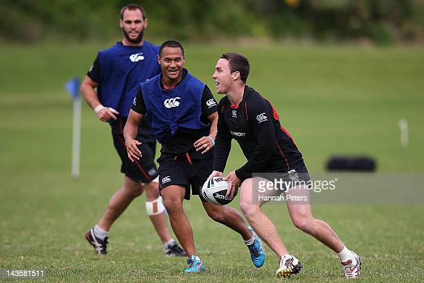 James Maloney runs through drills during a New Zealand Warriors NRL training session at Otahuhu College on April 30 2012 in Auckland New Zealand