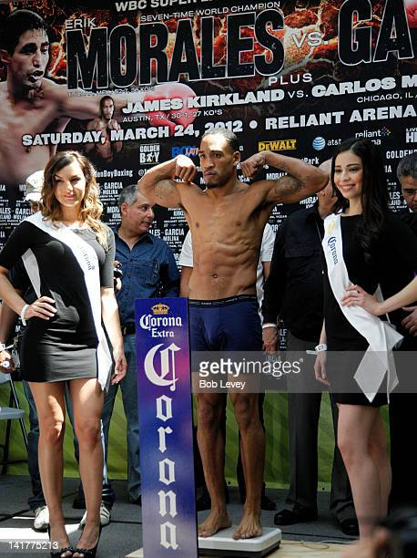 James Mandingo Warrior Kirkland during the weigh in for the WBC Continental Americas Super Welterweight at PlazAmerica Mall on March 23 2012 in...