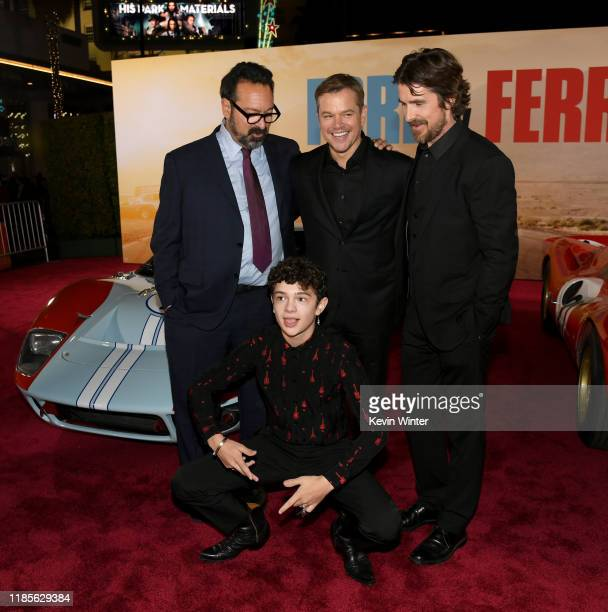 James Mangold Matt Damon Christian Bale and Noah Jupe arrive at the premiere of Fox's Ford V Ferrari at the TCL Chinese Theatre on November 04 2019...