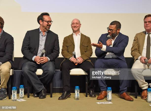 James Mangold Michael Green and Jordan Peele speak at the Writers Guild's 'Beyond Words 2018' at Writers Guild Theater on February 1 2018 in Beverly...