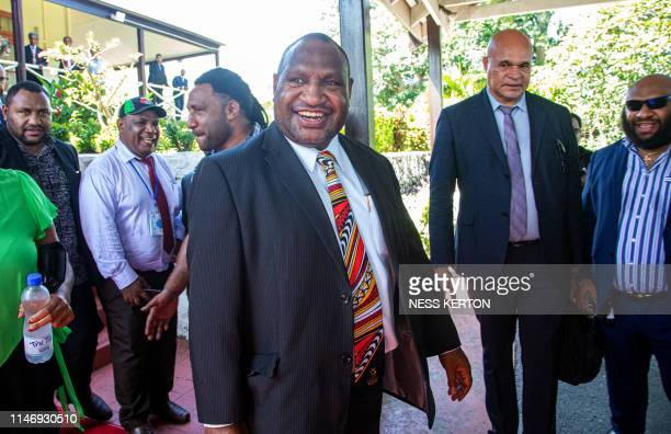 James Marape leaves the house of Governor General Bob Dadae after being sworn in as the new Prime Minister of Papua New Guinea in Port Moresby on May...