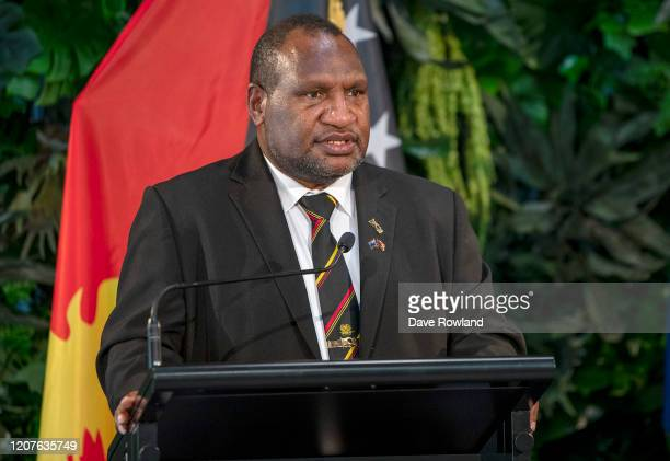 James Marape, Papua New Guinea Prime Minister and Jacinda Ardern, New Zealand Prime Minister hold a media conference at Government House on February...