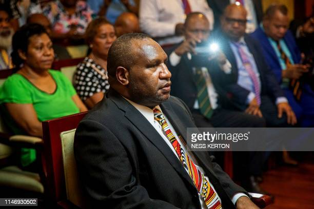 James Marape waits to be sworn in as the new Prime Minister of Papua New Guinea by Governor General Bob Dadae in Port Moresby on May 30 2019 Marape...