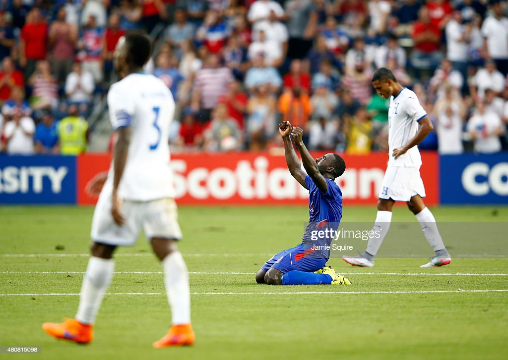 James Marcelin #14 of Haiti celebrates after Haiti defeated Honduras 1-0 to win their 2015 CONCACAF Gold Cup match at Sporting Park on July 13, 2015 in Kansas City, Kansas.