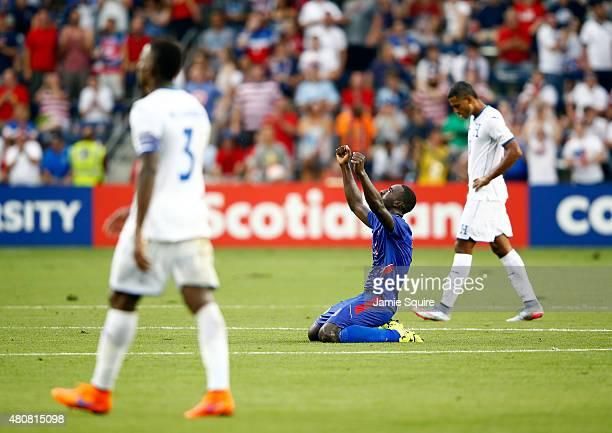 James Marcelin of Haiti celebrates after Haiti defeated Honduras 10 to win their 2015 CONCACAF Gold Cup match at Sporting Park on July 13 2015 in...