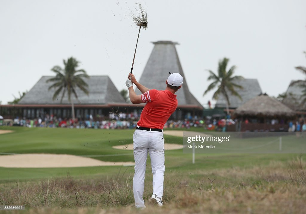 James Marchesani of Australia hits an approach shot on the 18th hole during day four of the 2017 Fiji International at Natadola Bay Championship Golf Course on August 20, 2017 in Suva, Fiji.