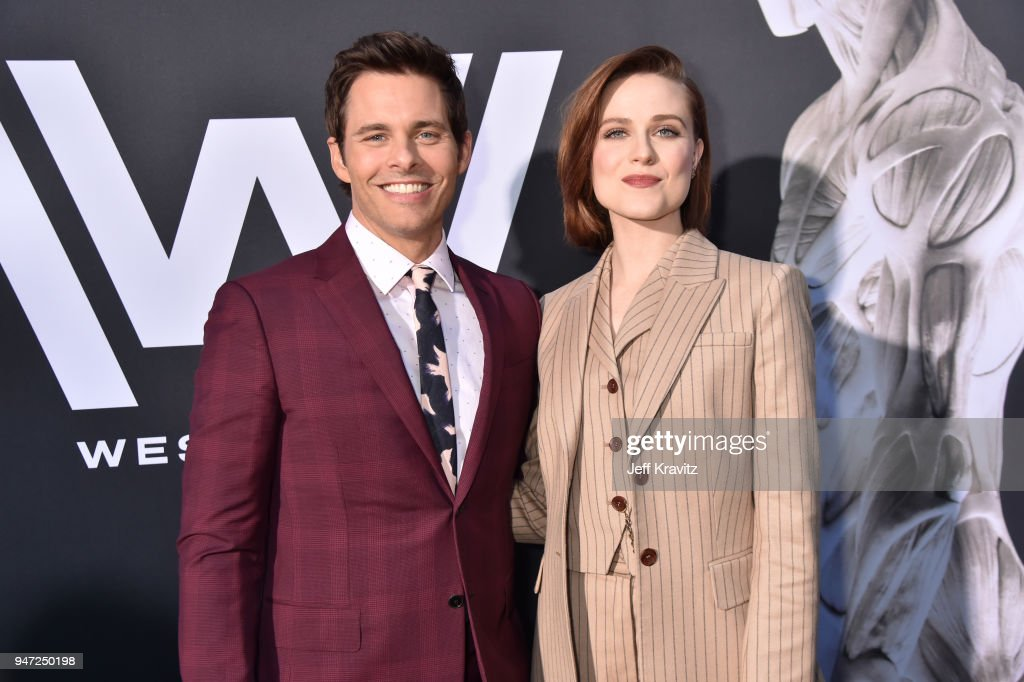 James Marsden (L) and Evan Rachel Wood attend the Los Angeles Season 2 premiere of the HBO Drama Series WESTWORLD at The Cinerama Dome on April 16, 2018 in Los Angeles, California.