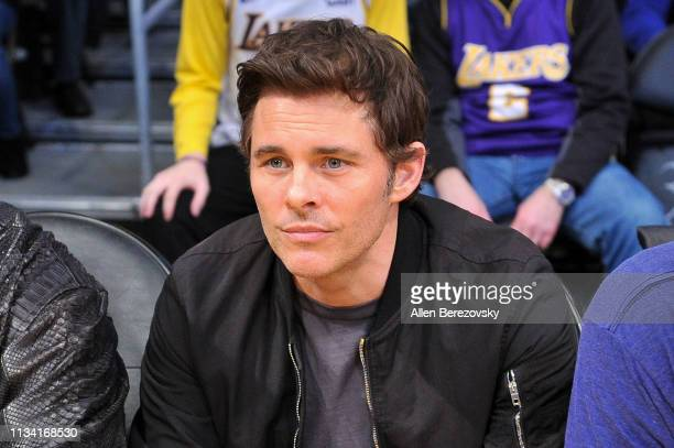 James Marsden attends a basketball game between the Los Angeles Lakers and the Denver Nuggets at Staples Center on March 06 2019 in Los Angeles...