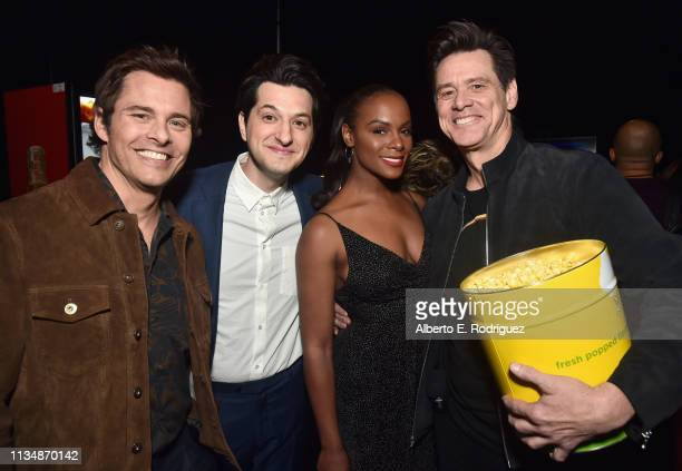 James Marsden Ben Schwartz Tika Sumpter and Jim Carrey at CinemaCon 2019 Paramount Pictures Invites You to an Exclusive Presentation Highlighting Its...