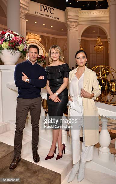 James Marsden Taylor Schilling and Adriana Lima visit the IWC booth during the launch of the Da Vinci Novelties from the Swiss luxury watch...