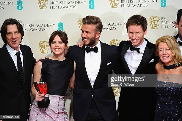 James Marsh Felicity Jones David Beckham Eddie Redmayne and Lisa Bruce celebrate Outstanding British Film 'The Theory Of Everything' in the winners...