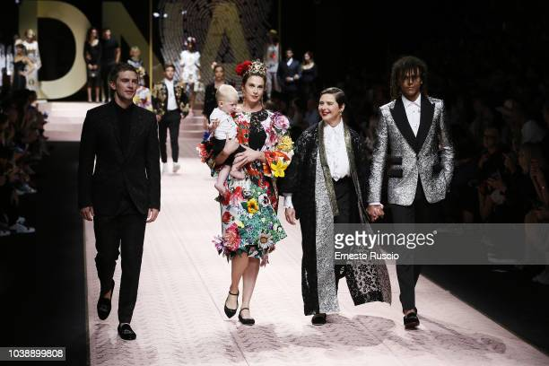 James Marshall Elettra Rossellini Wiedemann Isabella Rossellini and Roberto Rossellini walk the runway at the Dolce Gabbana show during Milan Fashion...