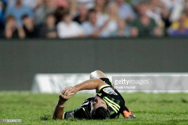 James Marshall of the Hurricanes goes down during the round one Super Rugby match between the Waratahs and the Hurricanes at Brookvale Oval on...