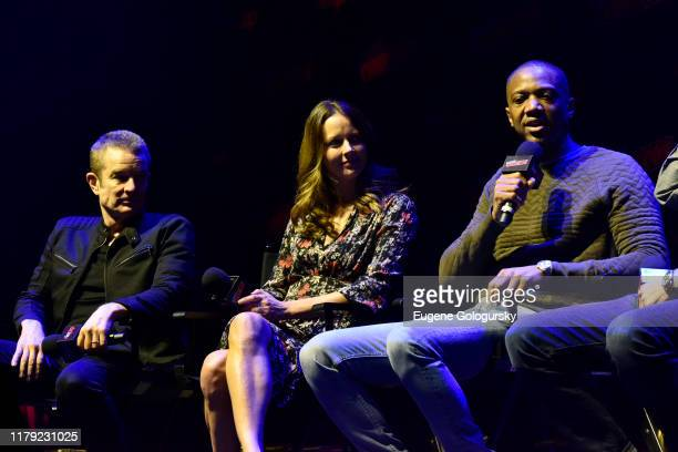 James Marsters, Amy Acker, and J. August Richards speak on stage at the Angel - 20th Anniversary panel during New York Comic Con at Hammerstein...