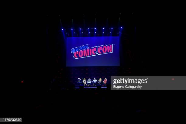 James Marsters, Amy Acker, J. August Richards, Alexis Denisof, Charisma Carpenter, and Clare Kramer speak on stage at the Angel - 20th Anniversary...