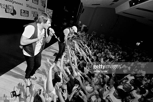 Image has been converted to black and white James Maslow and Big Time Rush perform at Sycamore High School on October 29 2010 in Sycamore Illinois