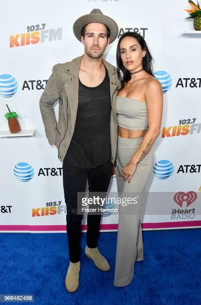 James Maslow and Gabriela Lopez attend iHeartRadio's KIIS FM Wango Tango by ATT at Banc of California Stadium on June 2 2018 in Los Angeles California