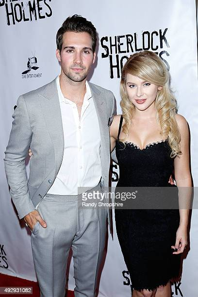 "James Maslow and Renee Olstead arrive to the opening night of Sir Arthur Conan Doyle's ""Sherlock Holmes"" at The Ricardo Montalban Theatre on October..."