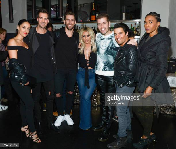 James Maslow, Aubrey O'Day, Perez Hilton, Steven Grossman and Michelle Williams attend Steven Grossman's 40th birthday party hosted by The IE Group...