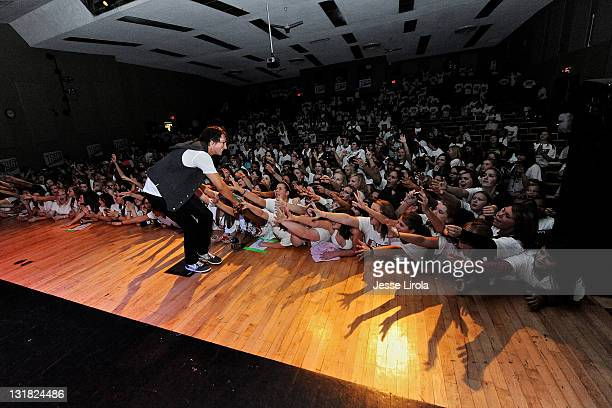 James Maslow of Big Time Rush performs at Sycamore High School on October 29 2010 in Sycamore Illinois