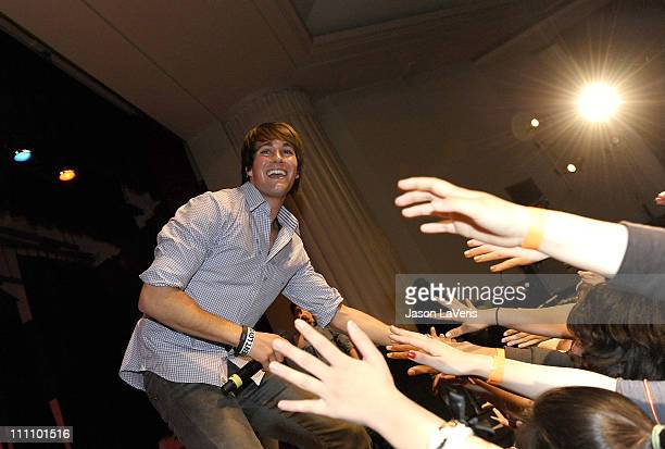 James Maslow of Big Time Rush performs at Torrance High School on March 29 2011 in Torrance California