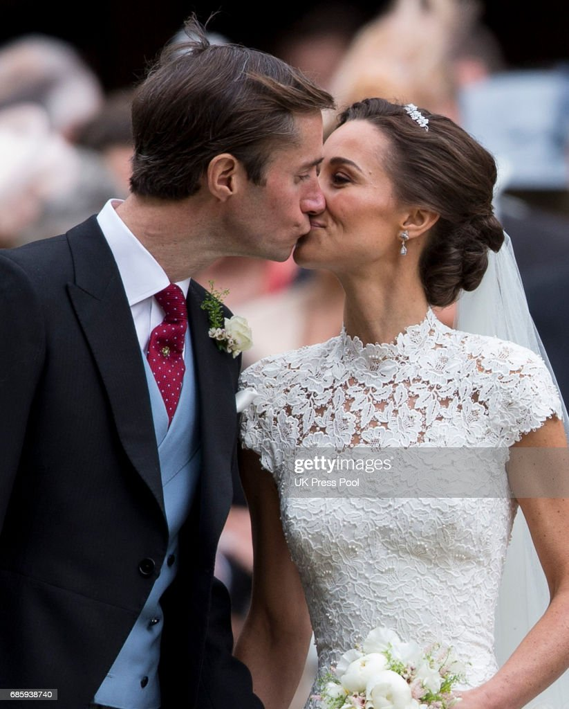James Matthews and Pippa Middleton after their wedding at St Mark's Church on May 20, 2017 in Englefield Green, England.