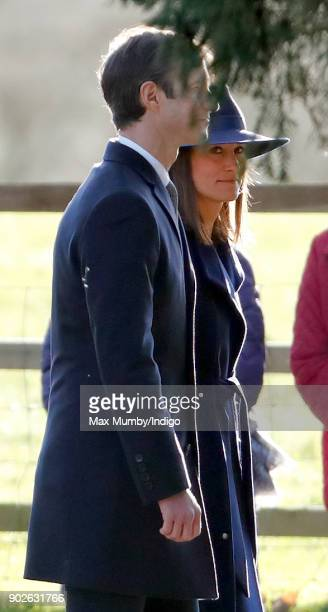 James Matthews and Pippa Middleton attend Sunday service at St Mary Magdalene Church Sandringham on January 7 2018 in King's Lynn England