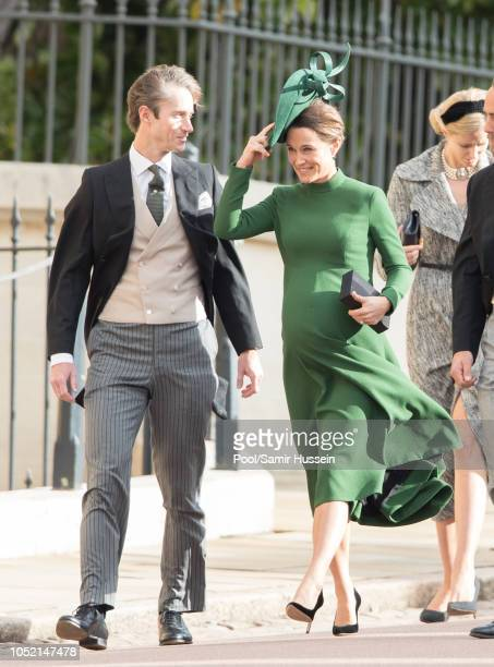 James Matthews and Pippa Middleton attend the wedding of Princess Eugenie of York and Jack Brooksbank at St George's Chapel in Windsor Castle on...