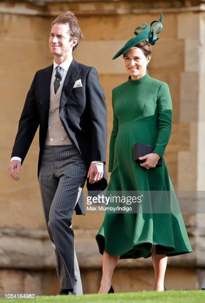 James Matthews and Pippa Middleton attends the wedding of Princess Eugenie of York and Jack Brooksbank at St George's Chapel on October 12 2018 in...