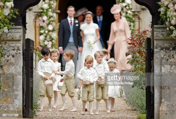 James Matthews and Pippa Middleton leave St Mark's Church along with Catherine Duchess of Cambridge and their bridesmaids and page boys including...