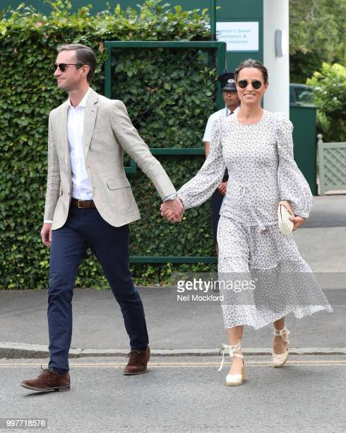 James Matthews and Pippa Middleton seen arriving at Wimbledon for Men's Semi Final Day on July 12 2018 in London England